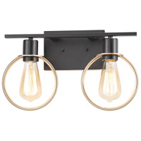 Justice Design NSH-8902-MBBR Volta 15 inch Matte Black with Brass Ring Bath Bar Wall Light