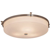 Justice Design PNA-8987-WAVE-MBLK Porcelina 3 Light 21 inch Matte Black Flush Mount Ceiling Light
