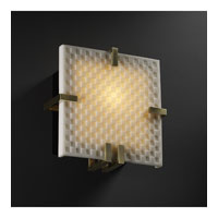 Justice Design Porcelina Clips Square Wall Sconce (Ada) in Antique Brass PNA-5550-CHKR-ABRS photo thumbnail
