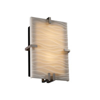 Justice Design Porcelina Clips Rectangle Wall Sconce (Ada) in Brushed Nickel PNA-5551-WAVE-NCKL