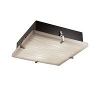 Justice Design PNA-5557-WAVE-NCKL Porcelina 4 Light 17 inch Brushed Nickel Flush-Mount Ceiling Light in Waves