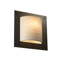 Justice Design Porcelina Framed Square 4-Sided Wall Sconce (Ada) in Dark Bronze PNA-5561-WAVE-DBRZ