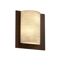 Justice Design Porcelina Framed Rectangle 3-Sided Wall Sconce (Ada) in Dark Bronze PNA-5562-WAVE-DBRZ