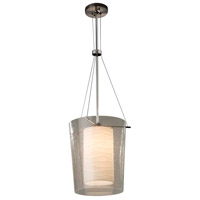 Justice Design PNA-8010-PLET-NCKL Porcelina 1 Light 12 inch Brushed Nickel Pendant Ceiling Light in Pleats, Incandescent