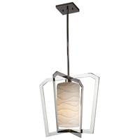 Justice Design PNA-8011-WAVE-CROM Porcelina 1 Light 18 inch Chandelier Ceiling Light in Polished Chrome Waves Incandescent