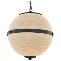 Justice Design PNA-8040-WAVE-MBLK Porcelina Imperial LED 17 inch Matte Black Chandelier Ceiling Light