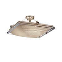 Metropolis 6 Light 28 inch Brushed Nickel Semi-Flush Ceiling Light in Pleats