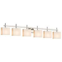 Justice Design PNA-8416-55-WAVE-NCKL-LED6-4200 Porcelina LED 51 inch Brushed Nickel Bath Bar Wall Light Rectangle