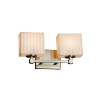 Porcelina 2 Light 15 inch Brushed Nickel Vanity Light Wall Light in Fluorescent, Waterfall