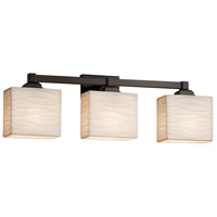 Porcelina 3 Light 24 inch Dark Bronze Vanity Light Wall Light in Fluorescent, Waves