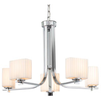 Justice Design PNA-8440-55-WAVE-CROM Porcelina 5 Light 27 inch Polished Chrome Chandelier Ceiling Light in Waves, Incandescent