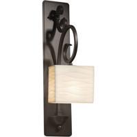 Justice Design PNA-8579-55-WAVE-DBRZ Porcelina 1 Light 6 inch Dark Bronze Wall Sconce Wall Light in Waves Incandescent Rectangle