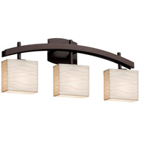 Porcelina 3 Light 26 inch Dark Bronze Vanity Light Wall Light in Waves, Incandescent