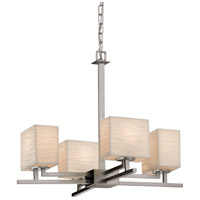 Porcelina 4 Light 23 inch Brushed Nickel Chandelier Ceiling Light in Waves, Incandescent
