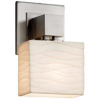Justice Design PNA-8707-55-WAVE-NCKL-LED1-700 Porcelina LED 6 inch Brushed Nickel ADA Wall Sconce Wall Light in 700 Lm LED Waves Rectangle