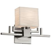 Justice Design PNA-8711-55-WAVE-NCKL-LED1-700 Porcelina LED 14 inch Brushed Nickel ADA Wall Sconce Wall Light in 700 Lm LED, Waves, Rectangle