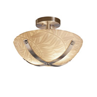 Dakota 2 Light 14 inch Brushed Nickel Semi-Flush Ceiling Light in Bamboo