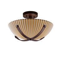 Justice Design Dakota 2 Light Semi-Flush in Dark Bronze PNA-8760-35-PLET-DBRZ