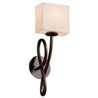 Justice Design PNA-8911-55-WAVE-DBRZ-LED1-700 Porcelina LED 6 inch Dark Bronze Wall Sconce Wall Light in 700 Lm LED Waves Rectangle