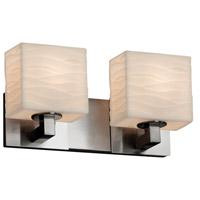 Justice Design PNA-8922-55-WAVE-NCKL-LED2-1400 Porcelina LED 15 inch Brushed Nickel Bath Bar Wall Light in 1400 Lm LED, Waves, Rectangle