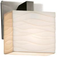 Justice Design PNA-8931-55-WAVE-NCKL-LED1-700 Porcelina LED 6 inch Brushed Nickel ADA Wall Sconce Wall Light in 700 Lm LED Waves Rectangle
