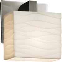 Justice Design PNA-8931-55-WAVE-NCKL Porcelina 1 Light 6 inch Brushed Nickel ADA Wall Sconce Wall Light in Waves Incandescent Rectangle