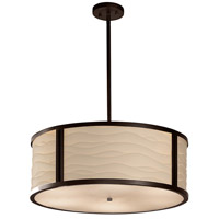 Justice Design Group Porcelina LED Drum Pendant in Dark Bronze PNA-9542-WAVE-DBRZ-LED5-5000