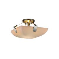 Justice Design PNA-9610-35-BMBO-NCKL-LED2-2000 Porcelina LED 16 inch Brushed Nickel Semi-Flush Ceiling Light in Bamboo, Round Bowl, 2000 Lm LED