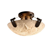 Porcelina 2 Light 16 inch Dark Bronze Semi-Flush Bowl Ceiling Light in Round Bowl, Bamboo
