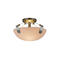 Porcelina 2 Light 16 inch Brushed Nickel Semi-Flush Bowl Ceiling Light in Round Bowl, Smooth