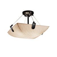Justice Design PNA-9611-35-WAVE-NCKL-LED3-3000 Porcelina LED 18 inch Brushed Nickel Semi-Flush Ceiling Light in 3000 Lm LED, Waves, Round Bowl