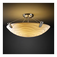 Porcelina 3 Light 21 inch Brushed Nickel Semi-Flush Bowl Ceiling Light in Round Bowl, Waves