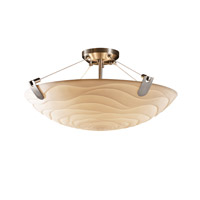 Porcelina 6 Light 27 inch Brushed Nickel Semi-Flush Bowl Ceiling Light in Round Bowl, Waves