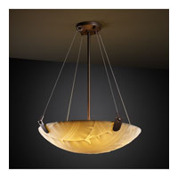 Porcelina 3 Light 21 inch Dark Bronze Pendant Bowl Ceiling Light in Round Bowl, Banana Leaf