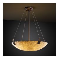 Porcelina 3 Light 21 inch Dark Bronze Pendant Bowl Ceiling Light in Round Bowl, Bamboo