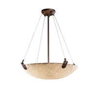 Porcelina 6 Light 27 inch Dark Bronze Pendant Bowl Ceiling Light in Round Bowl, Bamboo