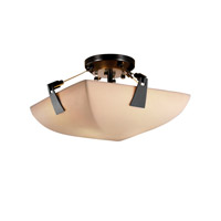 Porcelina 2 Light 16 inch Matte Black Semi-Flush Bowl Ceiling Light in Square Bowl, Smooth