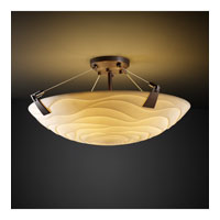 Porcelina 3 Light 21 inch Dark Bronze Semi-Flush Bowl Ceiling Light in Round Bowl, Waves