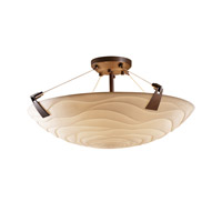 Porcelina 6 Light 27 inch Dark Bronze Semi-Flush Bowl Ceiling Light in Round Bowl, Waves