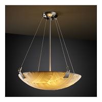 Porcelina 3 Light 21 inch Brushed Nickel Pendant Bowl Ceiling Light in Round Bowl, Banana Leaf