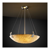 Porcelina 3 Light 21 inch Brushed Nickel Pendant Bowl Ceiling Light in Round Bowl, Bamboo