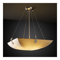 Justice Design PNA-9642-25-SAWT-NCKL Porcelina 6 Light 27 inch Brushed Nickel Pendant Bowl Ceiling Light in Square Bowl, Sawtooth photo thumbnail