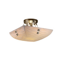 Porcelina 2 Light 14 inch Brushed Nickel Semi-Flush Bowl Ceiling Light in Pair of Squares, Square Bowl, Waves