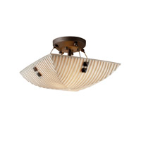 Porcelina 2 Light 14 inch Dark Bronze Semi-Flush Bowl Ceiling Light in Pair of Square with Points, Square Bowl, Waterfall