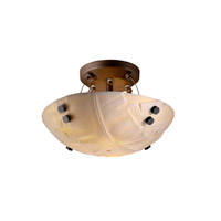 Porcelina 2 Light 14 inch Dark Bronze Semi-Flush Bowl Ceiling Light in Pair of Cylinders, Round Bowl, Banana Leaf