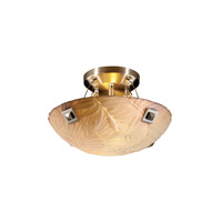 Porcelina 2 Light 14 inch Brushed Nickel Semi-Flush Bowl Ceiling Light in Large Square with Point, Round Bowl, Bamboo