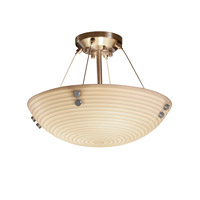 Porcelina 3 Light 21 inch Brushed Nickel Semi-Flush Bowl Ceiling Light in Pair of Cylinders, Round Bowl, Sawtooth