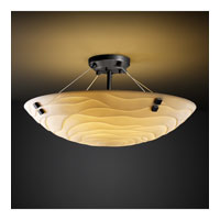 Porcelina 3 Light 21 inch Matte Black Semi-Flush Bowl Ceiling Light in Pair of Squares, Round Bowl, Waves