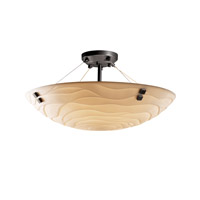 Porcelina 6 Light 27 inch Matte Black Semi-Flush Bowl Ceiling Light in Pair of Squares, Round Bowl, Waves