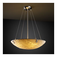 Porcelina 3 Light 21 inch Brushed Nickel Pendant Bowl Ceiling Light in Pair of Square with Points, Round Bowl, Banana Leaf
